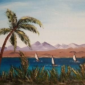 3 original oil paintings Windmill Sailing Mountain